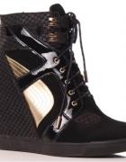 Sneakersy styl Casadei koturna skóra zamsz xandre