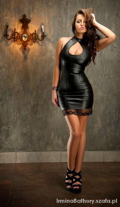 1f91980a9f Sukienka eko skóra czarna z koronką Soleil XS w Suknie i sukienki ...