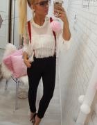 bluzka frędzle beauty spodnie szelki guziczki