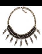 Zara naszyjnik kolia aztecki kły czerń złoto...