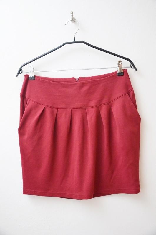 Spódnice Carry bordowa spódnica dresowa kieszenie 36 38