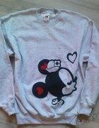 nowa szara bluza z nadrukiem DIY Minnie Mouse