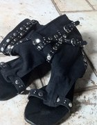 Materiałowe buty za kostkę 38