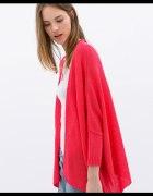 Malinowy neonowy sweter kardigan ZARA M