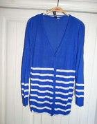 sweterek niebieski w paski biale dlugi HM zapinany