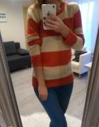 Sweterek w beżowo pomarańczowe pasy House...