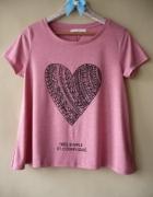 Koszulka róż z sercem rozmiar M bershka