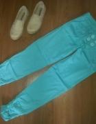 Miętowe spodnie rurki