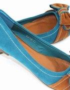 BALERINKI kokarda zamsz BLUE camel 38 NOWE