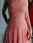 Zwiewna różowa sukienka srebrne ozdoby S