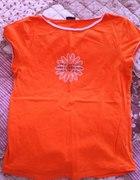 Pomarańczowa koszulka z kwiatkiem M
