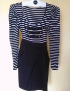sukienka czarna marynarska długi rękaw