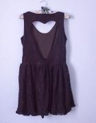 sukienka koronkowa serce plecy odkryte mini