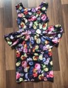 szara sukienka floral