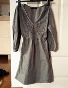 Piękna szara etniczna tunika wiązana Vero Moda