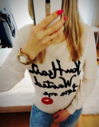 Bluza sweterek usta napis rozm s m