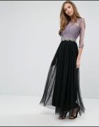 Asos maxi tiulowa sukienka tiul czarna liliowa