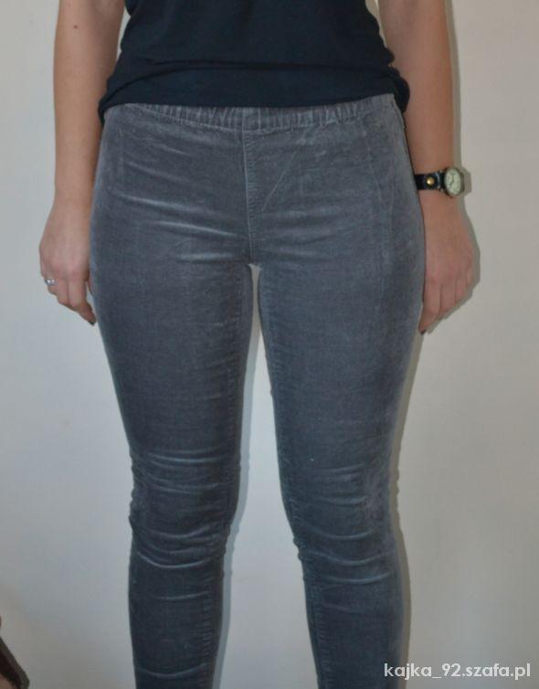 Spodnie spodnie sztruks tregginsy legginsy rurki szare