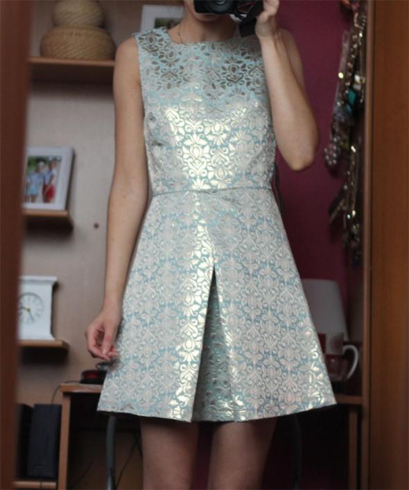 Suknie i sukienki sukienka ax paris nowa miętowa złota metaliczna
