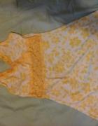 plażowa tunika biało żółta