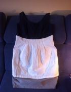 Sukienka granatowo biało szara