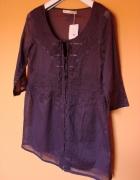 Nowa fioletowa zwiewna rozpinana tunika bluzka 40