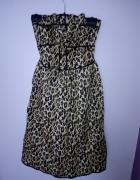 Sukienka w panterkę wiązana na szyi ATMOSPHERE 38