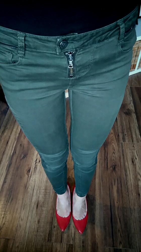 Spodnie spodnie biker zip 34 XS zara pull and bear khaki