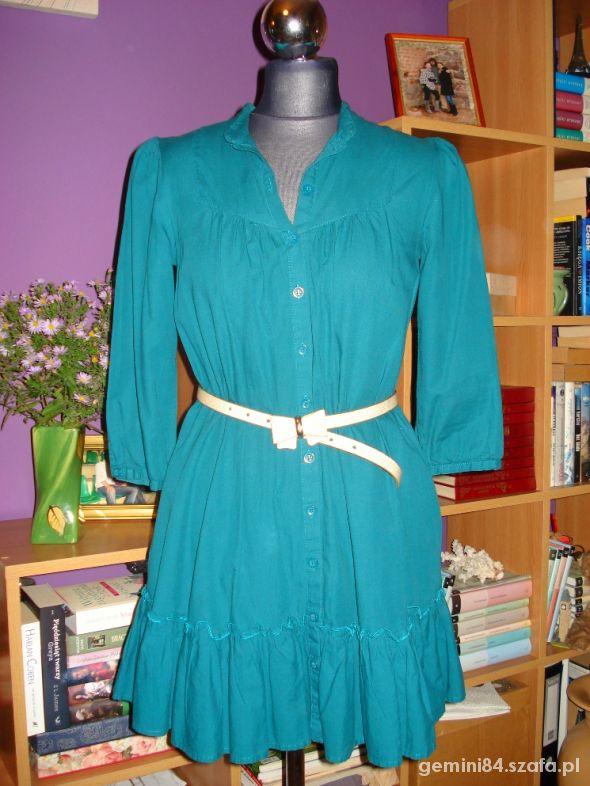 Długa sukienka szmizjerka zielona HM 36 38