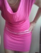 różowa sukienka tunika zwiewna na ramiączkach S