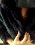 krótkie futerko bolerko długi rękaw czarne perełka