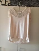 Delikatna różowa bluzka z koronką review S