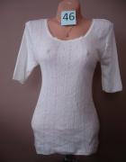 Biały ażurkowy sweter 46