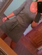 dzianinowa sweterkowa sukienka szara...