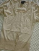 KAFFE dzianinowa NUDE bluzka ze złotą nitką L