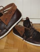 Buty brązowe skórzane wiązane