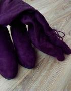 Bordowe buty za kolano