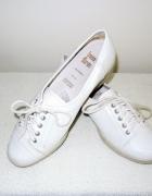 39 40 Baleriny balerinki białe koturn skóra profi