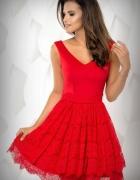 jokastyl Czerwona sukienka z koronkowym dołem S 36