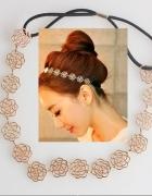 Opaska do włosów złota kwiaty róże styl gwiazd HIT