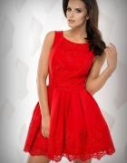 jokastyl Czerwona sukienka z koronką M L 38 40