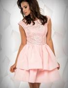 Efektowna sukienka pudrowy róż krótki rekaw M 38