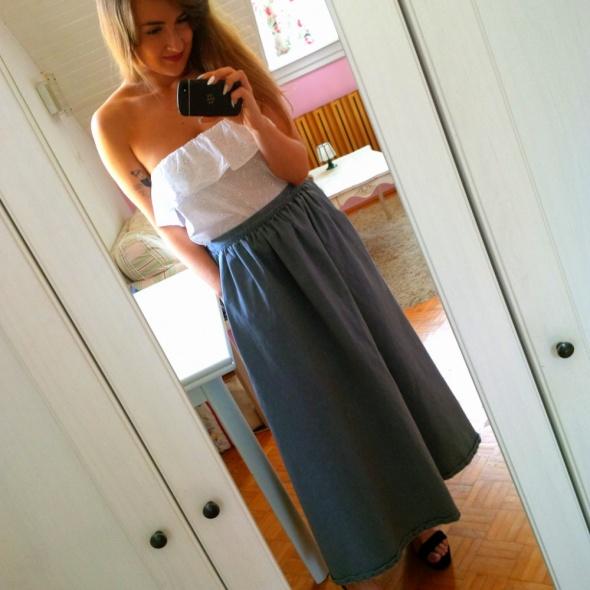 Spódnice Szara długa spódnica maxi jeans S 36