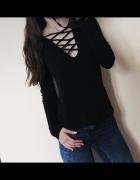 czarna wiązana bluzka jak nowa xs s m