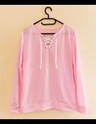 różowa wiązana bluzka jak nowa s