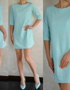 Miętowa sukienka casual tyłoczony materiał S M L