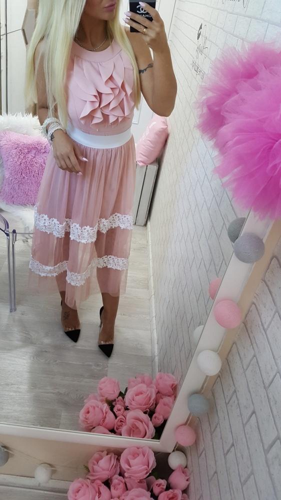 Codzienne beauty pink koronka falbanki