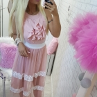 beauty pink koronka falbanki