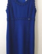 CHANEL chabrowa kobaltowa sukienka...