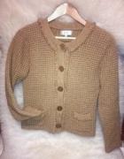 Musztardowy sweter GIGUE 100 wełna